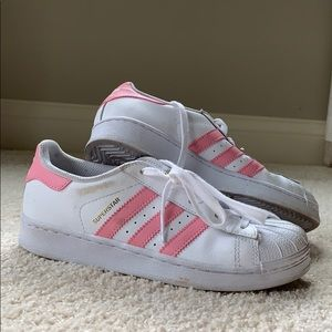 Girls Pink Adidas Superstars